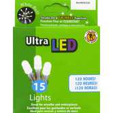 White Ultra LED Battery Operated Lights with Clear Cord
